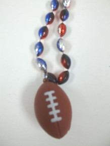 Large Football Shape Mardi Gras Bead Necklace Red Silver Blue Beads