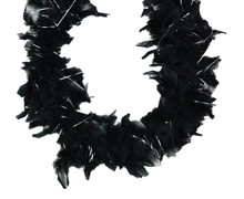 """Black Chandelle Feather Boa Silver Tinsel 72"""" 6 Ft Masquerade or Shower 60 gm"""