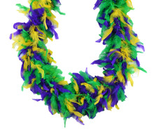 "Purple Green Yellow 40 Gm 72"" 6 Ft Mardi Gras Colors Chandelle Feather Boa"