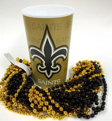 New Orleans Saints 22 oz Cup 12 Mardi Gras Beads Black Gold Party Favor