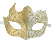 Gold White Venetian Mask Masquerade Mardi Gras Unique Style