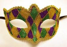 Purple Green Gold Venetian Glitter Small Masquerade Mardi Gras Dance Prom Mask