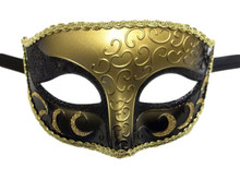 Black Gold Elegant Crescent Glitter Venetian Masquerade Mask