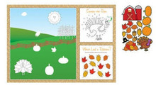 Thanksgiving Fall Party 8 pc Fun Kids Placemat Activity Kit Stickers