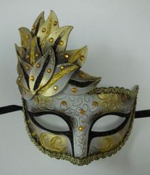 Black Gold Venetian Mask Masquerade Mardi Gras Party Leaf Cascade Rhinestones