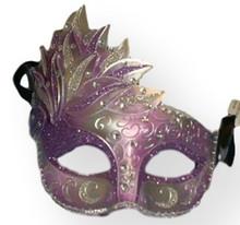 Purple Silver Venetian Mask Masquerade Mardi Gras Party Leaf Cascade Rhinestones