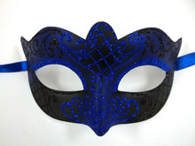 Black Blue scroll Mardi Gras Masquerade Small Teen Kid Mask