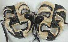 Black White Full Face Comedy Tragedy Venetian Masks Masquerade Wall Hanging Set