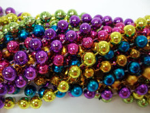 "12 Purple Green Gold Pink Blue Orange Round Mardi Gras Bead Necklaces 48"" 10mm"