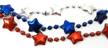 "12 Red Silver Blue Star Patriotic America  Mardi Gras Bead Necklaces Lot 48"" XL"