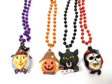4 Witch Cat Grim Reaper Scarecrow Pumpkin Hallween Mardi Gras Bead Necklaces