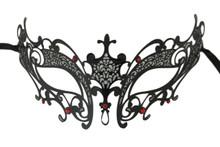 Red Black Laser Cut Venetian Masquerade Metal Filigree Mask Rhinestones Fleur De Lis