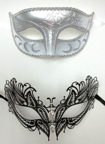 2 Masks Black Laser Cut White Silver couples Venetian Masquerade Metal Men Women