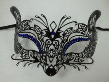 Black Blue Fox Cat Rhinestone Laser Cut Venetian Mask Masquerade Metal Filigree