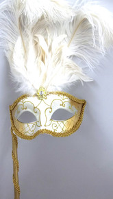White Gold Stick Venetian Masquerade Mardi Gras Feather Mask