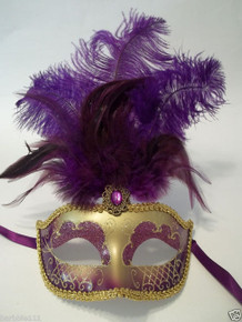 Purple Gold Feather Venetian Mask Masquerade Mardi Gras Jewel Gem Mask 12""