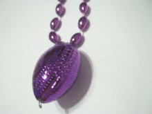Purple Football Shape Mardi Gras Bead Beads Necklace Party Favor