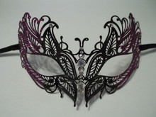 Purple Black Crystal Masquerade Mardi Gras Mask Venetian Metal Filigree
