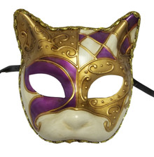 Purple White Gold Gatto Cat Masquerade Mardi Gras Venetian Mask