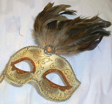 Pearl orange Gem Stick Venetian Masquerade Feather Mask