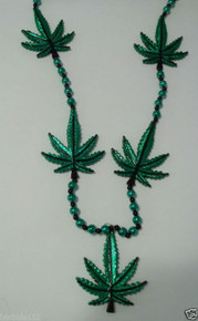 "MARIJUANA LEAF 48"" GREEN LARGE DOUBLE SIDED MARDI GRAS BEAD NECKLACE"