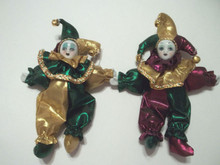 "Mardi Gras Jester Doll 7"" Purple Green Gold Magnet"