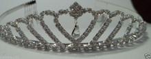 Petite Heart Teardrop Crystal Silver plate Pageant Tiara