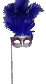Purple Silver Stick Venetian Masquerade Mardi Gras Feather Mask