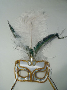White Gold Jewel Fabric Feather Masquerade Mardi Gras Mask