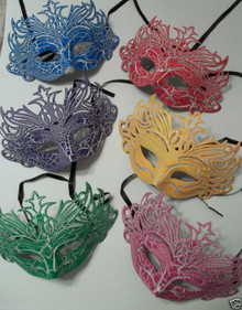 Red, Blue, Yellow, Purple, Green, Pink Cracked Antique Crown Masquerade Mask