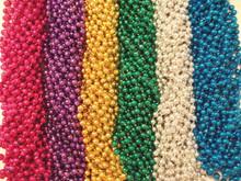 144 Bright Mardi Gras Beads Party Favors Necklaces Metallic 12 Dozen Lot