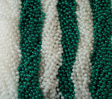 48 Green White St. Patricks Day Mardi Gras Beads Party Favors Necklaces 4 Dozen
