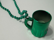 "Green St Patrick's Day Cup ""Beer Mug"" Mardi Gras Bead Necklace"
