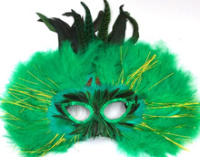 Green Feather Halloween Masquerade Costume Ball Mask