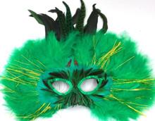 Green Feather Halloween Masquerade Costume Ball Mask