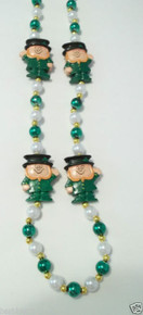 Green Pearl St Patrick's Day Leprechaun Mardi Gras Bead Necklace Beads