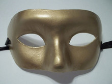 Gold Venetian Mask Masquerade Mardi Gras Party Costume Paper Mache