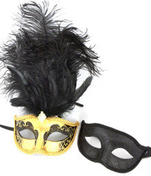 Gold Black His Hers Combo Masquerade Couples Mardi Gras Masks