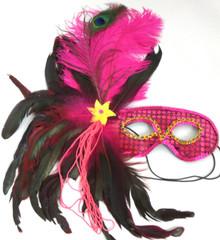 Fushia Hot Pink Black Feather Masquerade Ball Mardi Gras Mask