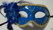 Deep Blue Rose Flower Mardi Gras Masquerade Party Value Mask