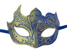Dark Blue Gold Venetian Mask Masquerade Mardi Gras