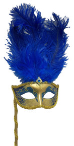 Dark Blue Gold Stick Venetian Masquerade Mardi Gras Feather Mask