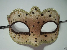 Brown Gold Small Venetian Masquerade Mardi Gras Mask