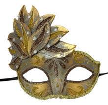 Brown Gold Small Venetian Mask Masquerade leaf cascade