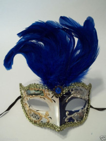 Blue White Vintage Musica Venetian Feather Small Mardi Gras Masqueade Mask
