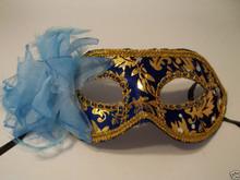 Blue Gold Light Blue Flower Mardi Gras Masquerade Value Mask