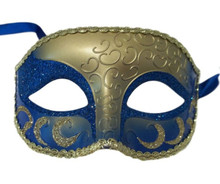 Blue Gold Elegant Crescent Glitter Venetian Masquerade Mask