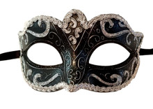 Black Silver Small Teen Ornate Masquerade Mardi Gras Costume Mask Prom Dance