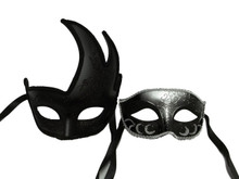 Black Silver Couples Man Woman Masquerade Mardi Gras Masks Set