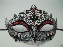Black Red Rhinestone Venetian Mask Masquerade Ball Prom Metal Filigree